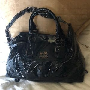 Coach satchel with leather and chain strap